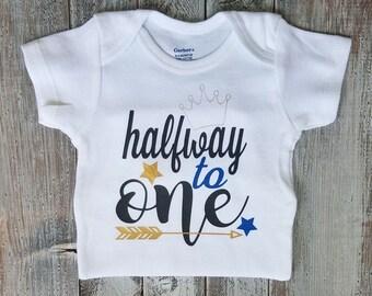 Half birthday, Onesie, Baby boy clothes, Baby boy, Baby, Baby boy onesie, Onesies, Baby clothes, Baby onesies, Boy onesie, Baby onesie, Cute