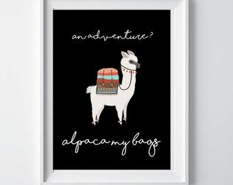 Alpaca print, llama print, alpaca my bags decor, alpaca printable, alpaca wall decor, nursery decor, alpaca photo, animal print