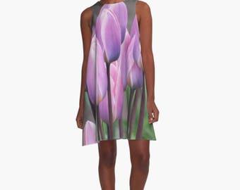 Pink Dress ~ Spring Dress, Tulip Fabric A-line Dress, Purple Dress, Flower Print Dress, Floral Dress, Women's Above Knee Sleeveless Dress