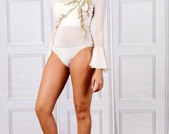 Claudia - Embellished Flared Long Sleeve Bodysuit - Ivory
