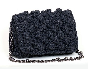 Crochet bag, Handmade crochet clutch, handcrafted  clutch, gift for her,  boho clutch , bobble bag, flap bag, knitted bag, chain
