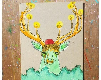 Silly Moose - Original painting with markers and acrylic paint
