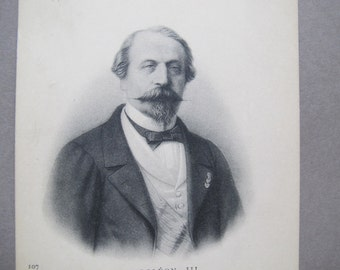 Napoleon III antique postcard / Napoleon Carte Postale / French Etching postcard / ND Phot