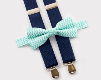matching father and son bow tie,  mint chevron bow tie & navy blue suspenders, matching wedding outfit