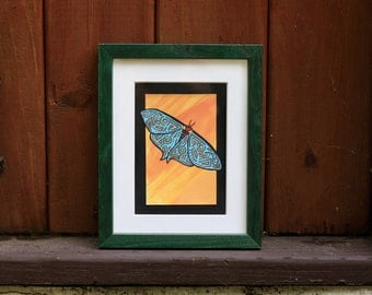 Mysterious Patterned Moth — Original Art Painting Print — Fine Art Print