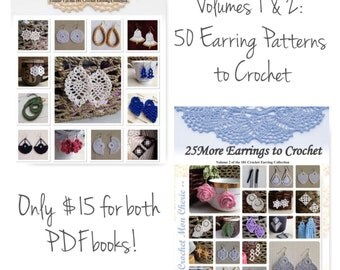 50 Crochet Earrings: Volumes 1 AND 2 of the 101 Crochet Earring Collection - Instant download - Crochet PATTERN (pdf file)