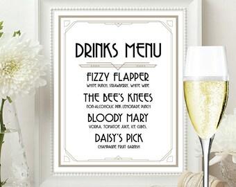 Drink Menu, drink menu sign, drinks menu, drinks menu sign, great gatsby drinks menu, art deco drink menu sign, gatsby drinks menu, bar menu