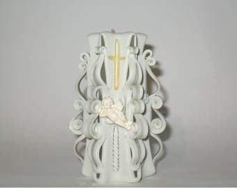 Candle  christening Carved candles white baby baptism candle for christenings white candles angel for candles gift for her