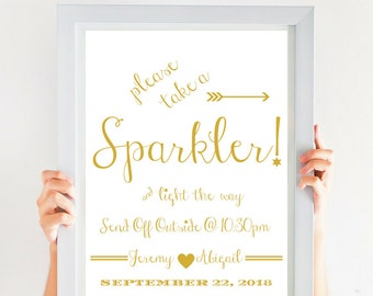 Sparkler Send Off Wedding Sparklers Sign, Let Love Sparkle, Let Sparks Fly, Custom, Personalized, Printable Sign, PDF Gold Font CWS307_2911C