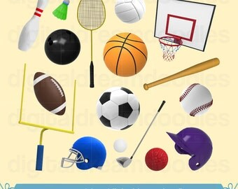 Sport Clipart, Sport Clip Art, Sports Clipart, Athletic Sport Graphic, Sporting Equipment Image, Sport Ball PNG, Athlete Digital Download