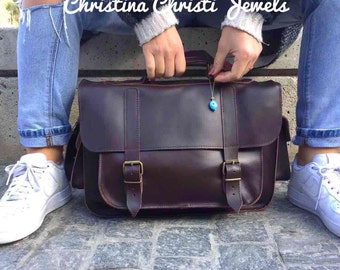 Women Leather Briefcase, Leather Messenger Bag, Leather Laptop Bag, 15'' Laptop Bag, Leather Handbag in Dark Brown Color, Made in Greece.