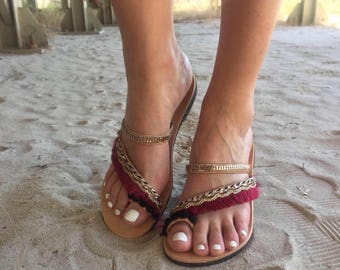 Handmade Sandals, Leather Sandals, Greek Sandals, Women's Sandals, From Genuine Leather Made in Greece by Christina Christi Jewels.