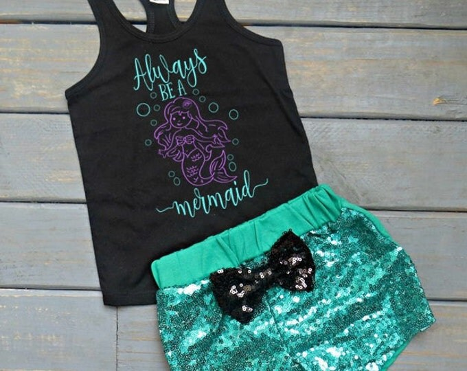 Always Be A Mermaid Outfit, Mermaid Birthday Outfit, Baby Girl's First Birthday, Girl's Summer Outfit, Gifts For Girls, Mermaid Tank
