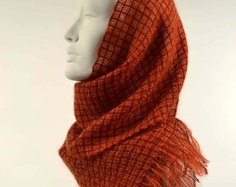 Handwoven scarf, bright orange. Kidmohair tangerine and tencel burnt orange. Light weaving, transparent scarf.