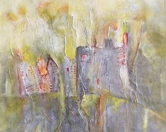 Peinture jungle urbaine, peinture originale acrylique, tableau technique mixte, art contemporain, déco maison, décoration murale, jaune-gris