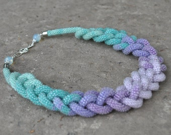 Seed Bead Crochet Rope  Long Bead Lariat,Extra Long Necklace,Beadwork Lariat Rope Lariat Bead,Ukrainian necklace.Beaded necklace.