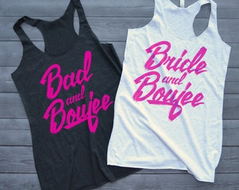 Bad and Boujee Shirt, Bride and Boujee Tank Top, Bachelorette Shirts, Bachelorette Party Tanks, Bad and Boozy Shirts
