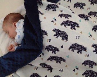 Modern Baby Blanket - geometric bears - navy blue minky blanket - geometric animals -  receiving blanket, minimalist, winter Baby Blanket UK