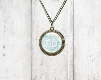 Astrology Pendant Necklace - Cancer - Birthstone Necklace
