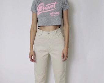 Vintage 1990s High Waist Jeans 25.5 | Beige High Waist Denim Jeans | Beige Cropped Jeans