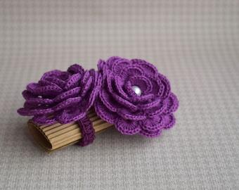 Purple napkin rings,  Crochet flower napkin wrap or scarf slide Set of 2 Mother's day gift