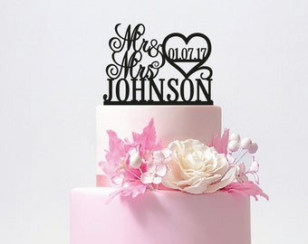 Personalized Mr and Mrs Wedding Cake Topper with YOUR Last Name / ST008