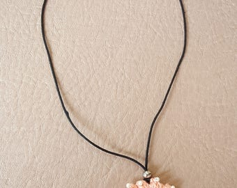 Peach Pink and White Pendant Necklace