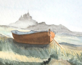 French watercolor painting, Mont-Saint-Michel bay, Nautical painting, Boat painting, Mont Saint Michel, Tableau, Picture, Seaside scene
