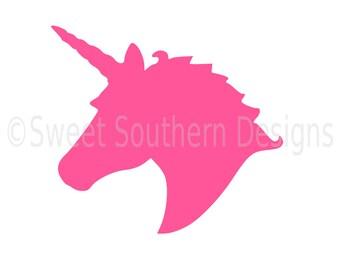 Unicorn head monogram SVG instant download design for cricut or silhouette