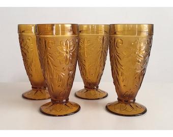 Vintage Amber Glasses, Vintage Indiana Glass Company Drinking Glasses, Tiara Amber Glasses, Vintage Floral Glasses