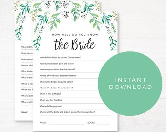 Editable Bachelorette Party Game / Greenery Bridal Shower Games / Editable Games Quiz / Printable Games / Kitchen Tea / Instant Download