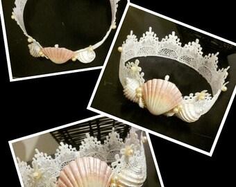 Adult Mermaid, Lace,Seashell crown, Beach wedding hair accessories, Mermaid Crown, Seashell headband