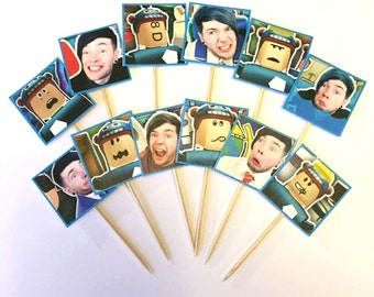 The Diamond Minecart Roblox Cupcake Toppers, Dan TDM, Birthday Decorations, Roblox Birthday, Mine game Party Decorations