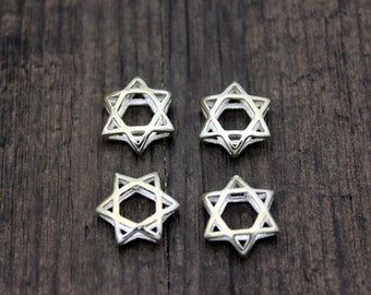 2pcs Sterling Silver Star Of David Beads,Silver David Star Beads,Sterling Silver Beads,Silver Spacer Bead,hexagram , six pointed star
