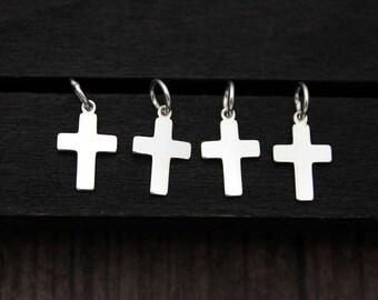4 Sterling Silver Cross Charm Pendant,Cross necklace pendant,Cross Jewelry