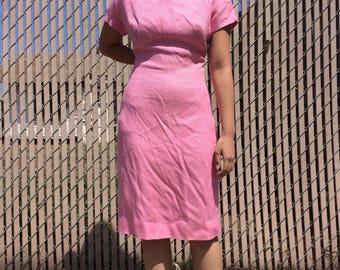 Vintage pink mod dress, size small