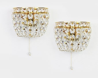 Pair of Crystal wall sconces by Palwa , Germany, 1970s