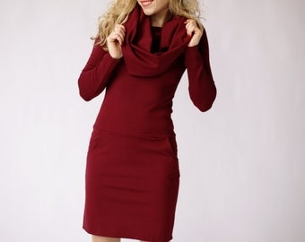 Maroon dress, burgundy midi dress, cowl neck dress with pockets, long sleeve dress, burgundy dress, midi dress, spring dress, casual dresses