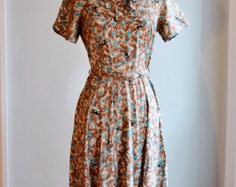 1950s Novelty Print Dress/Waist 28""