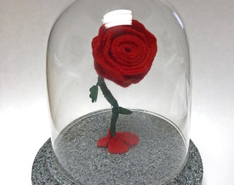 Tiny Small Enchanted Rose Replica Inspired by Beauty and the Beast Little Felt