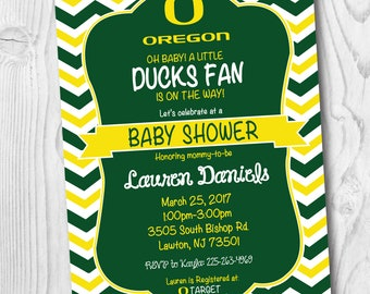 Oregon Baby Shower Invitation FREE SHIPPING - Oregon Birthday Party Invitation - Oregon Ducks