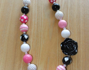 Black Flower Pendant With Pink Accents, Disney Inspired Chunky Bead Necklace