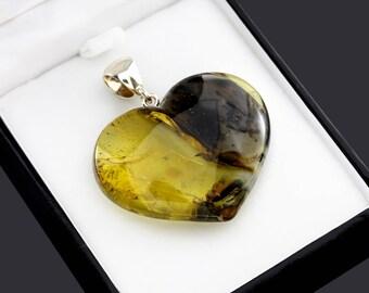 Amber Heart Pendant, Heart Pendant, Pendant For Love, Girlfriend Romantic Jewelry, Girlfriend Gift Pendant, Romantic Jewelry For Her