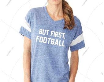 "Women - Girls - Premium Retail Fit ""But First, Football"" Ladies' Eco Jersey Triblend Powder Puff Fashion T-Shirt (S,M, L, XL)"