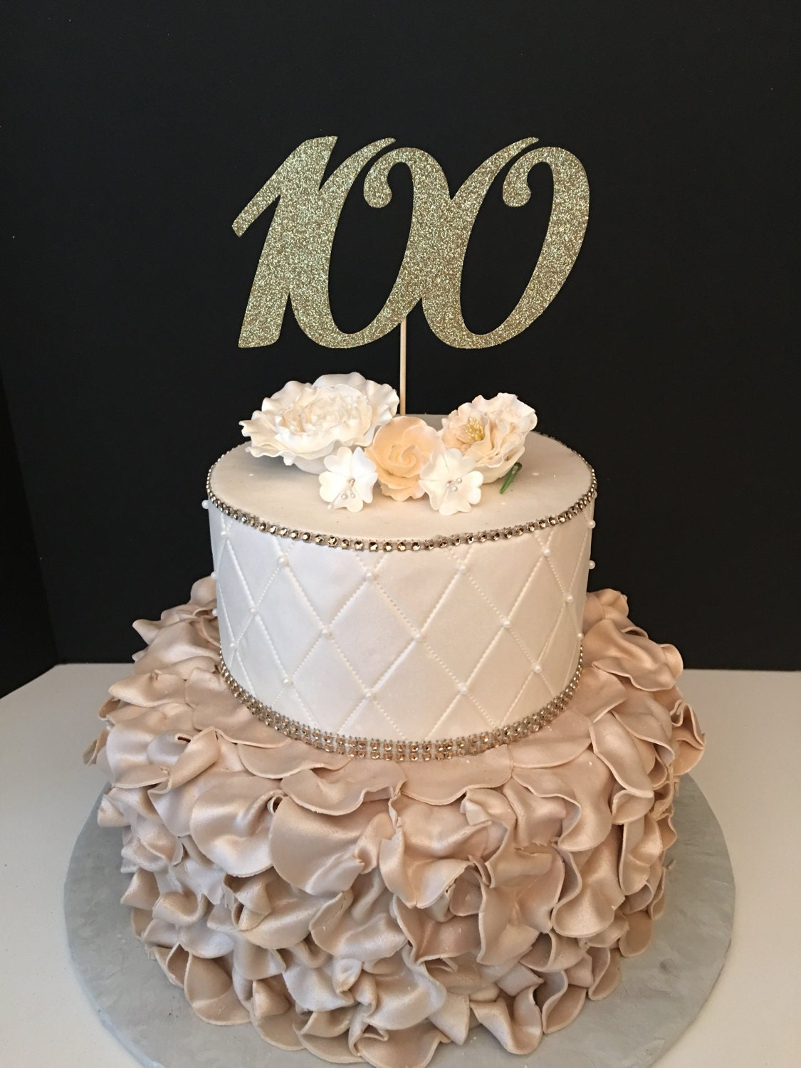 Any Number Gold Glitter 100th Birthday Cake Topper Number Birthday