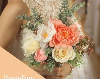 Beautiful Handmade Paper Wedding Bouquet - Portofino