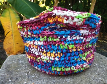 Recycled Plastic Bags Crochet Colorful Vibrant Hippie Tote Bag handmade with Plarn