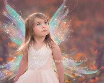 Iridescent digital fairy wings overlays, .PNG, photoshop overlay, fantasy, wings overlay, fairy overlay, photoshop, instant download