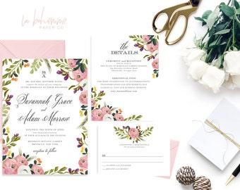 Printable Wedding Invitation Suite / Wedding Invite Set - Savannah Grace