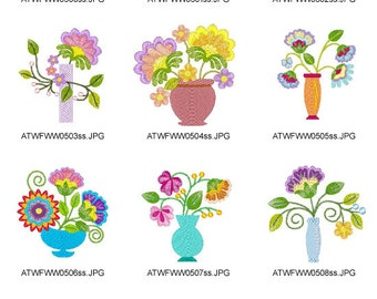 Jacobean-Floral-Vases  ( 10 Machine Embroidery Designs from ATW )